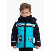 Куртка с нашивками и шевронами  для мальчика 274084(fancy aqua b